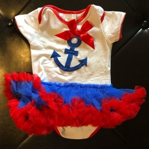 Red, white & blue anchor tutu dress